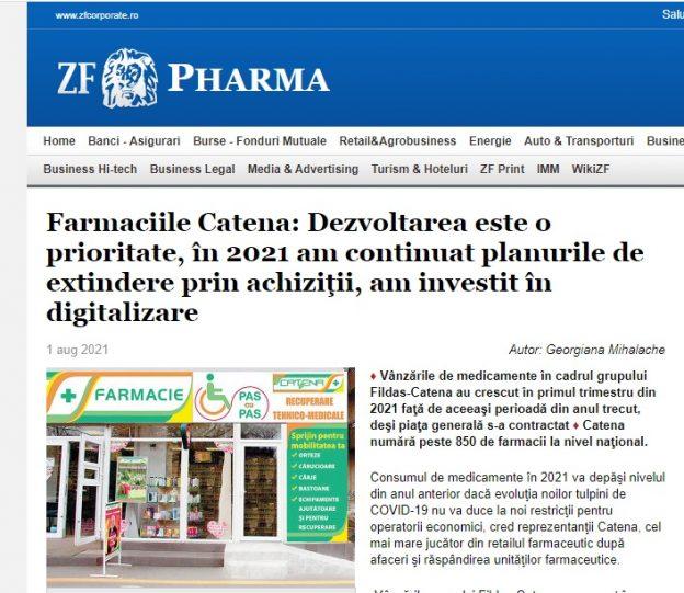 """Ziarul Financiar: """"Farmaciile Catena: Dezvoltarea este o prioritate, în 2021 am continuat planurile de extindere prin achiziţii, am investit în digitalizare"""""""